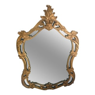 Vintage Hollywood Regency Gold Ornate Mirror For Sale