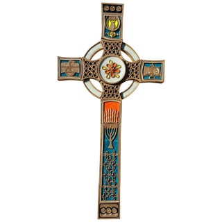 Monumental Christian Orthodox Pop Modernist Tile and Fused Glass Crucifix For Sale