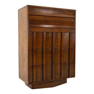 1960s Lane Brutalist Mid Century Chevron Base Walnut 5 Drawer Highboy Dresser For Sale