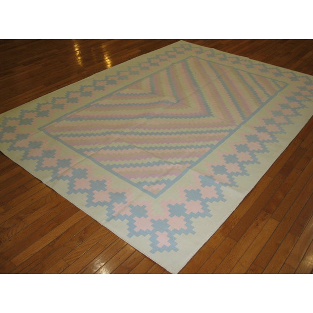 Handmade Indian Cotton Dhurry Rug - 6' x 9' For Sale - Image 5 of 5