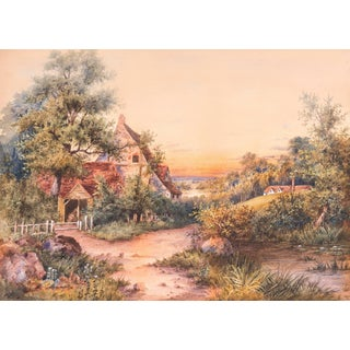 'Sunset Landscape' by W.C.Eisen, Large 19th Century Watercolor For Sale