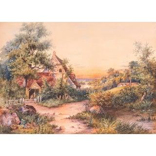 W.C.Eisen, Large 19th Century Watercolor 'Sunset Landscape' For Sale