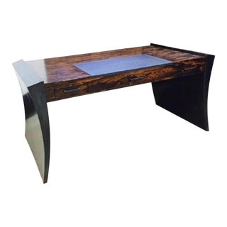 Modern Steel, Stone and Exotic Ebony Wood Gull Wing Writing Desk For Sale