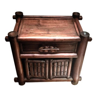 1970s Rustic Tiki Scorched Bamboo Nightstand For Sale