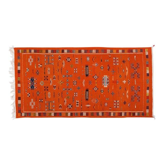 Orange Moroccan Atlas Rug - 3′5″ × 6′8″