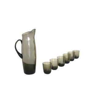Mid Century Modern Smoky Gray Italian Pitcher and Glass Set For Sale