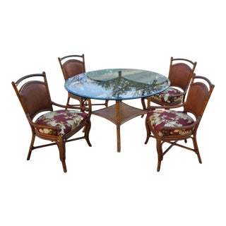 Palecek Bamboo Table and Chairs For Sale