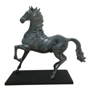1950s Figurative Verde Bronze Horse Figurine