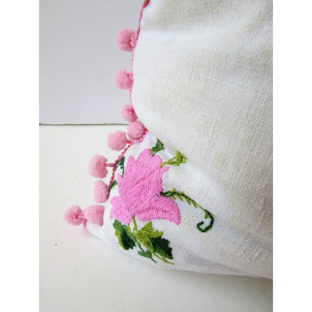 Vintage Pink Rose Embroidery Pillow Cover - Image 4 of 6