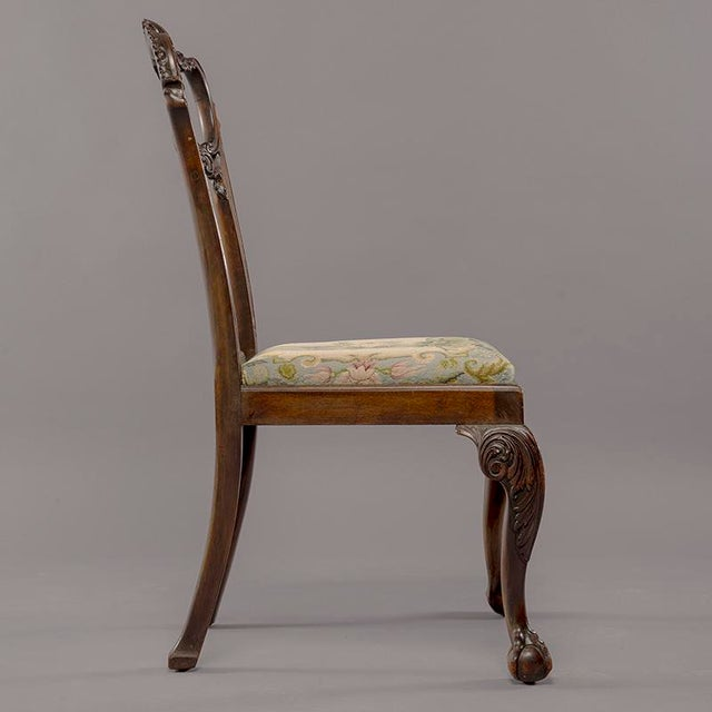 Chippendale Set 8 19th C Hand Carved Chippendale Tassel Back Dining Chairs For Sale - Image 3 of 13