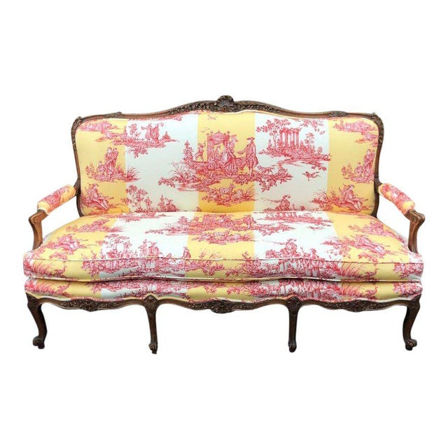 Antique Louis XV Style Gilt-Wood Sofa Settee W/ Brunschwig & Fils - Water Garden For Sale - Image 9 of 9