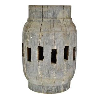 Antique Wood Wagon Wheel Hub Table Lamp Base For Sale