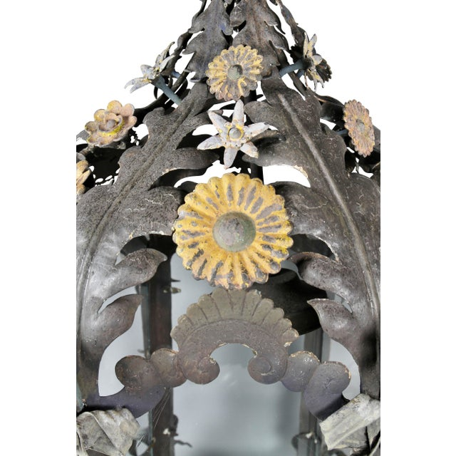 Late 19th Century Italian Painted Tole Hanging Lantern For Sale - Image 5 of 12