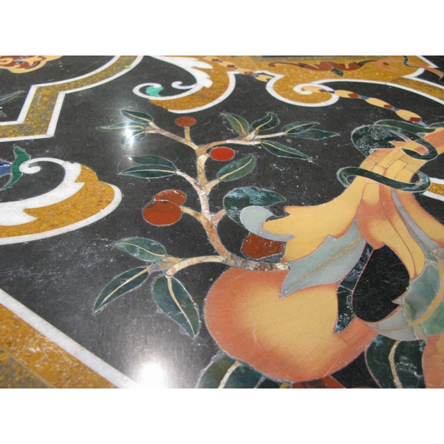 Italian Pietra Dura Inlaid Stone Table For Sale - Image 4 of 9