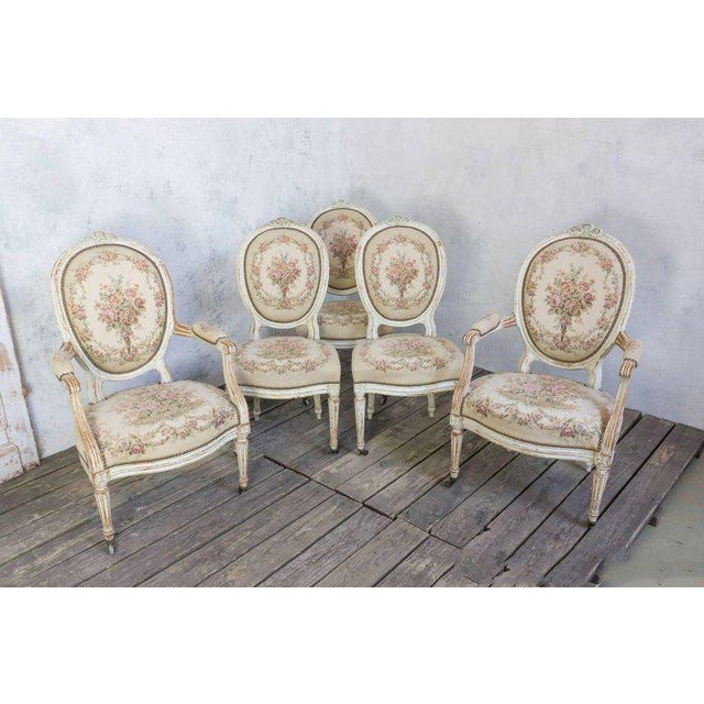 Pair of French 19th Century Louis XVI Style Armchairs in Petit Point Fabric - Image 10 of 11