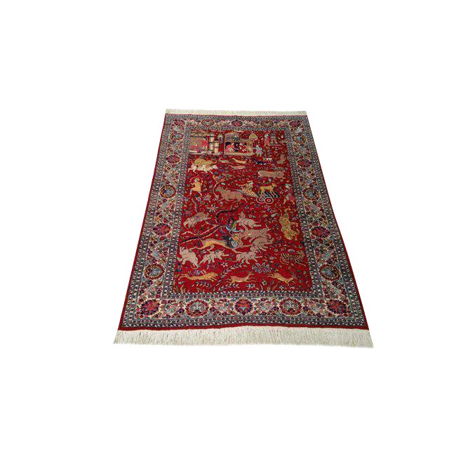 Vintage Scenery Hand Made Knotted Rug - 4′8″ × 7′5″ - Size Cat. 4x6 5x7 - Image 1 of 3
