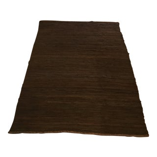 Handwoven Leather Rug - 4′4″ × 6′4″ For Sale
