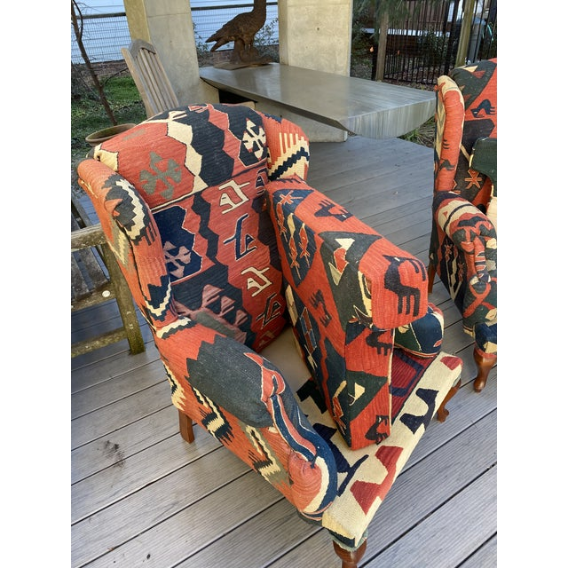 Red Kilim Wingback Chairs - a Pair For Sale - Image 8 of 13