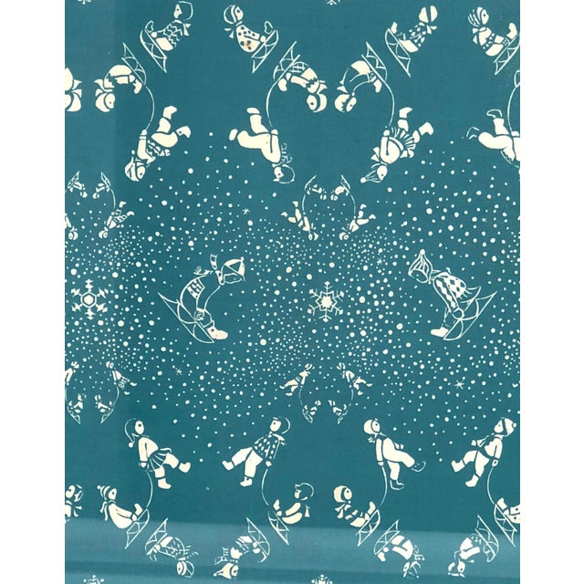 Turquoise Folly Cove Designers Snow Flurry Hand Block Print For Sale - Image 8 of 10