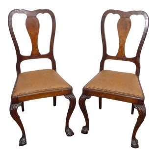 Pair Brown Leather Chippendale Style Carved Wood Accent Chairs Ball & Claw Feet For Sale