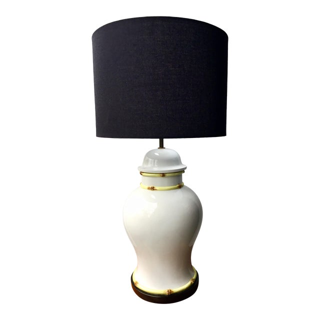 1970s Large Porcelain Bamboo Detailed Temple Urn Lamp For Sale