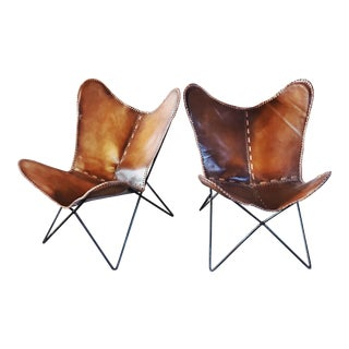 Leather 1960's Butterfly Chairs For Sale