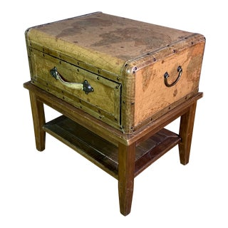 20th Century Leather Travel Suitcase Storage Box on Frame For Sale