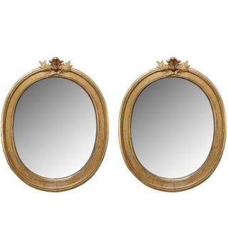 Pair of Antique Swedish Gustavian Oval Mirrors Early 19th Century For Sale