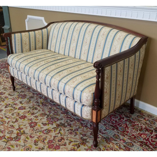 Traditional Fantastic Hickory Chair Company James River Collection Sheraton Mahogany Loveseat For Sale - Image 3 of 9