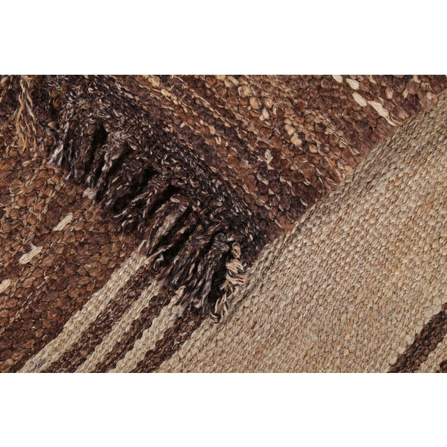 Turkish Kilim Rug With Brown Stripes on Beige Field For Sale In Dallas - Image 6 of 8