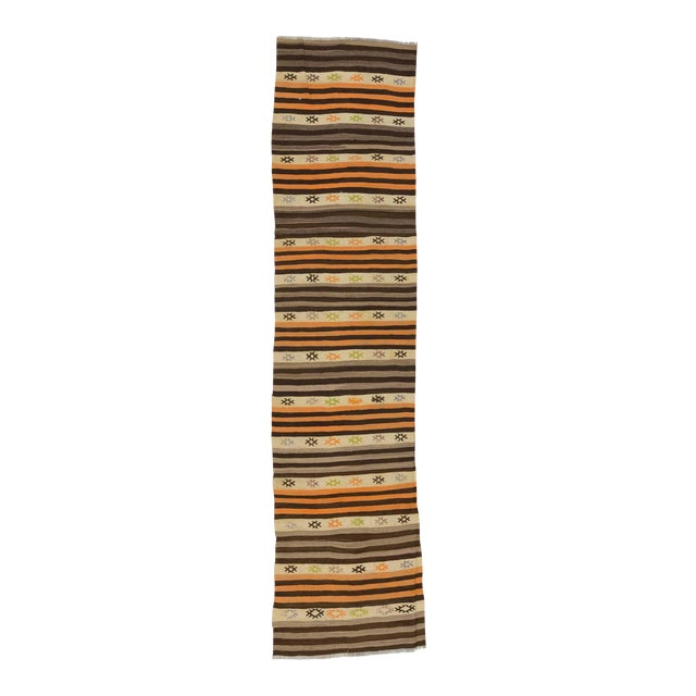 Striped Vintage Kilim Runner - 2′8″ × 11′3″ For Sale