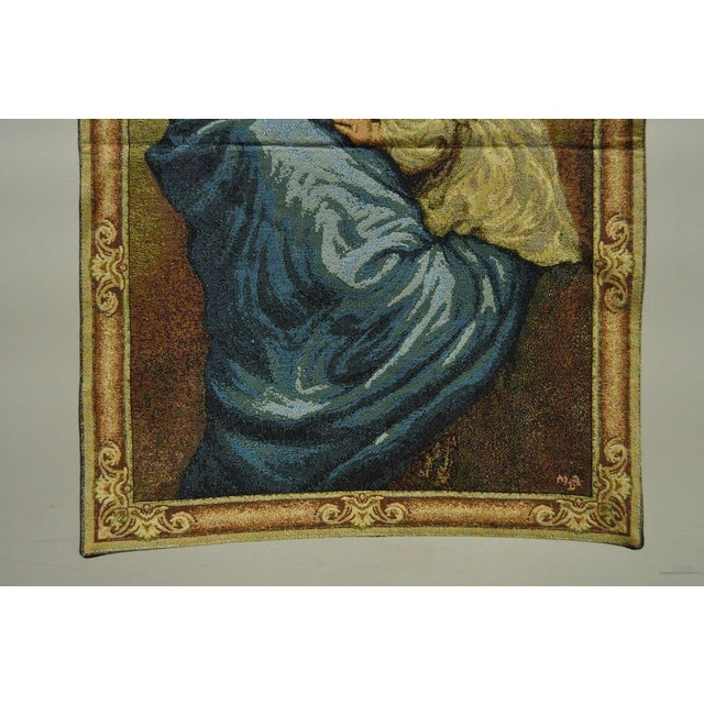 "French 25""x 18"" French Wall Hanging Tapestry Aubusson Mother and Child Madonna Ferruzzi For Sale - Image 3 of 6"