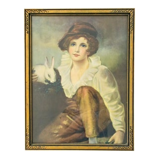 Boy and Rabbit Lithograph by Sir Henry Raeburn 1930s For Sale