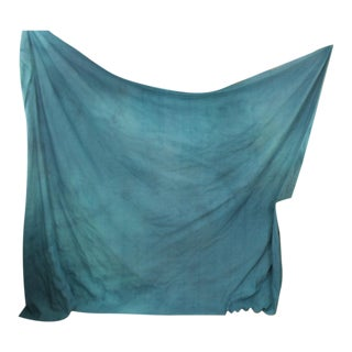 "Antique French Dyed Blue Heavy Linen Sheet Throw Blanket Textile - 101"" X 77"" For Sale"