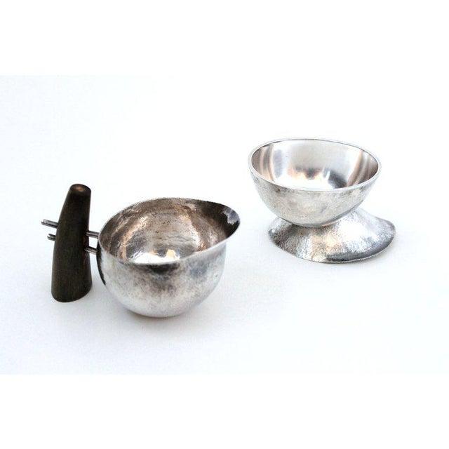 Mid-Century Modern Sculptural Modernist Sterling Creamer and Sugar Bowl For Sale - Image 3 of 11