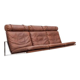1960s Danish Brown Leather Wall-Mounted Sofa by Fabricius / Kastholm For Sale