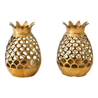 Brass Pineapple Votive Holders - a Pair For Sale
