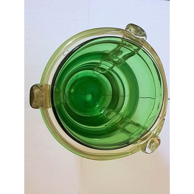 Fine Large Murano Greengold Glass Mid Century Modern Pair Of Vases