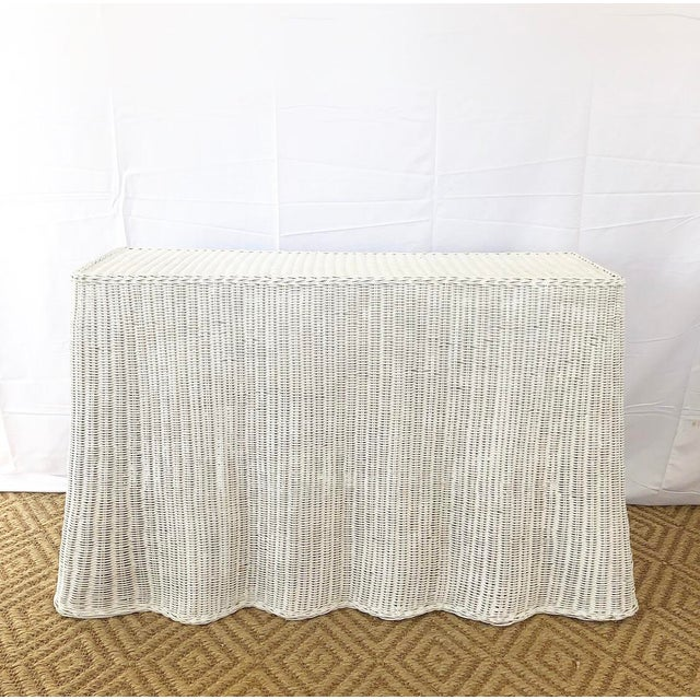Vintage White Wicker Ghost Trompe L' Oeil Console For Sale - Image 13 of 13