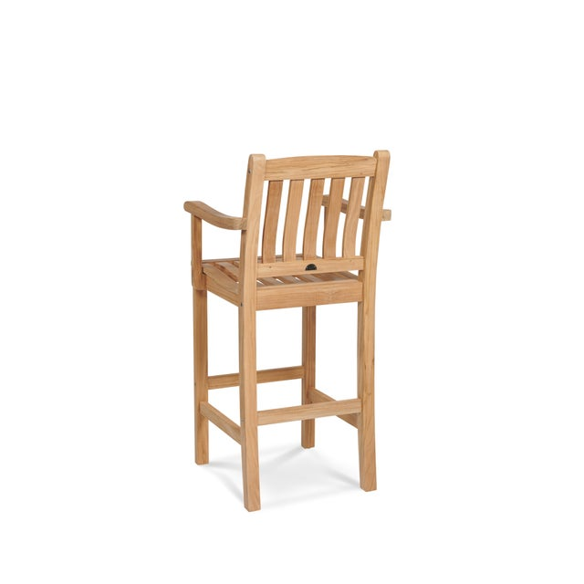 The Oasis Teak Outdoor Bar Armchair is a contemporary look from a classic style. Perfect for the patio, poolside, or on a...