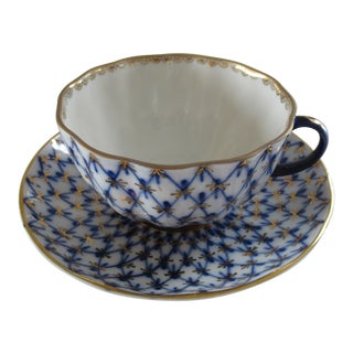 "Vintage Lomonosov Ussr ""Cobalt Net"" Teacup & Saucer - a Pair"
