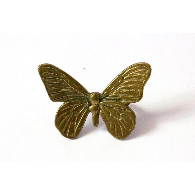 Boho Chic Vintage Mid-Century Brass Butterfly Napkin Rings - Set of 4 For Sale - Image 3 of 9