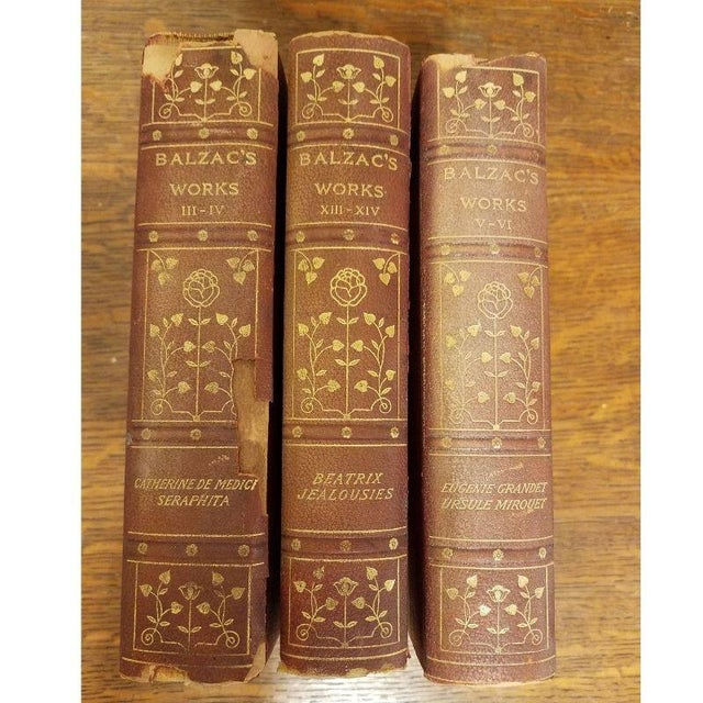 "11 Volume Vintage ""Balzac's Works"" Leather Books For Sale In Milwaukee - Image 6 of 10"