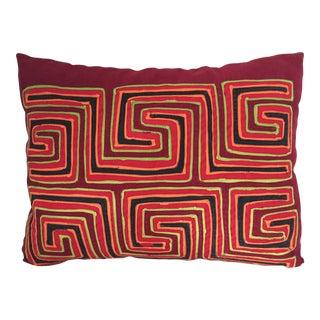 Vintage Mola Textile Lumbar Pillow For Sale