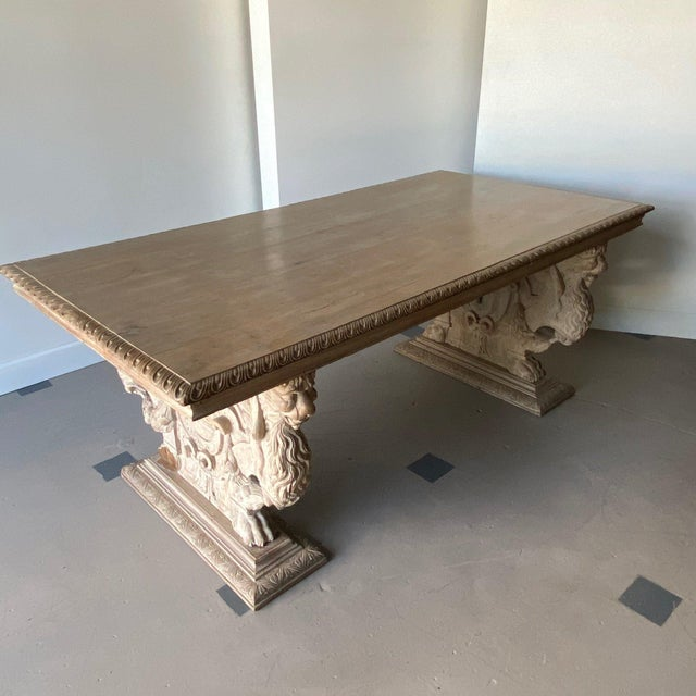 Cream 19th C. Carved Spanish Trestle Table For Sale - Image 8 of 8