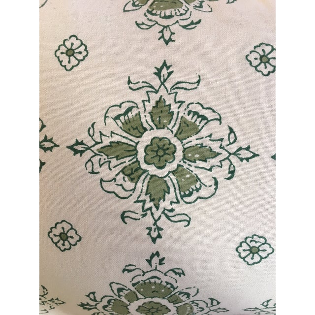 Green/Blue Block Printed Flower Lumbar Pillow For Sale - Image 4 of 5