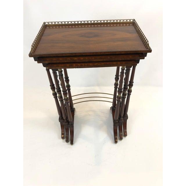 Regency Zebra Wood Nesting Tables - Set of 3 For Sale - Image 13 of 13