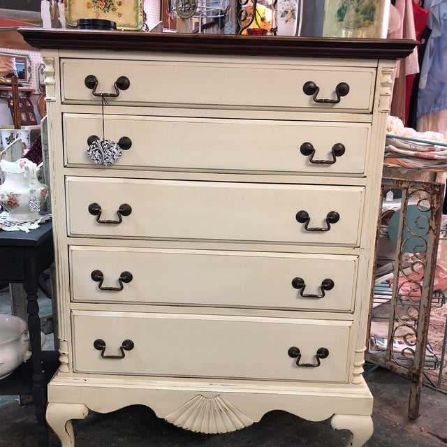 White Vintage Mahogany Chest of Drawers For Sale - Image 8 of 11