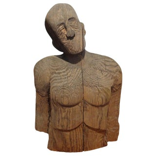 Monumental Carved Wood Male Torso by Jim Pruitt For Sale