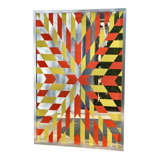 1965 Vintage Geometric Abstract Wall Mirror Art For Sale